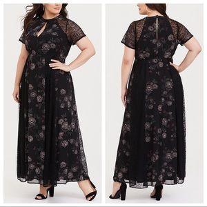 Torrid Floral Chiffon Lace Maxi Dress Black